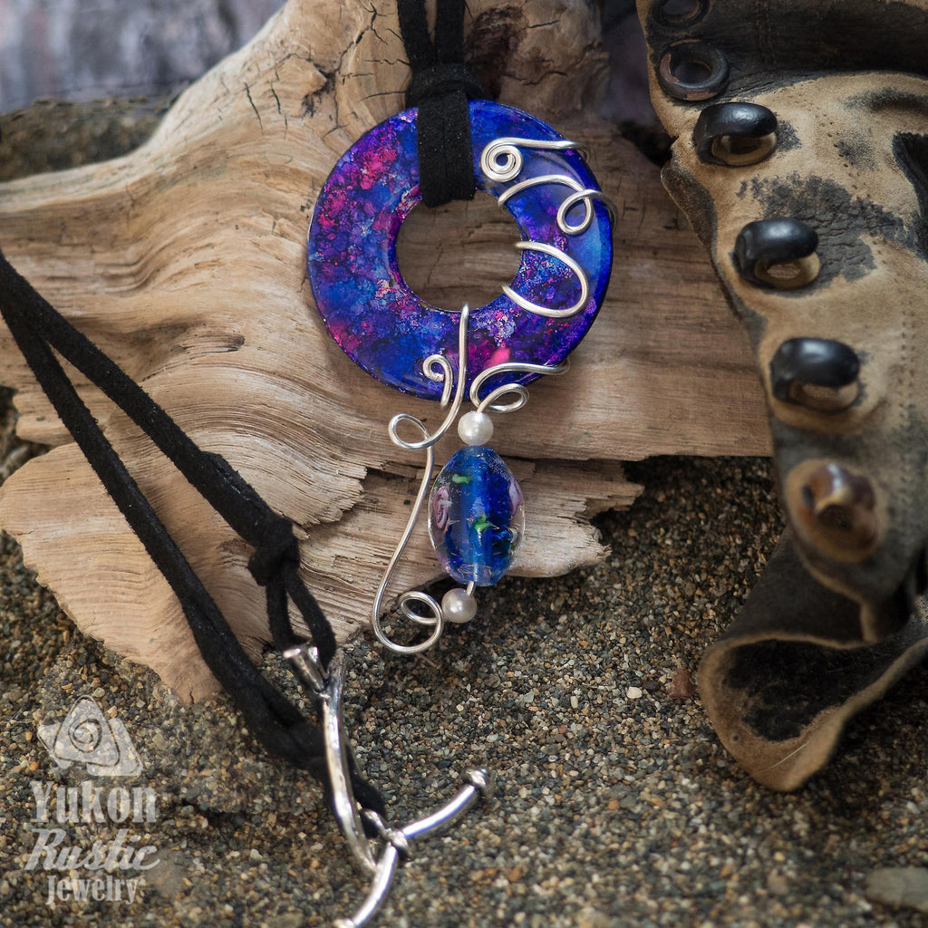 Stunning Blue and Pink Washer Pendant accented with Beads