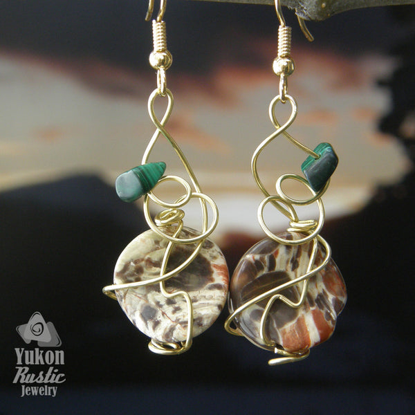 Ecliptical Jasper Stone Bead Earrings with Malachite Stone Chip (gold wire)