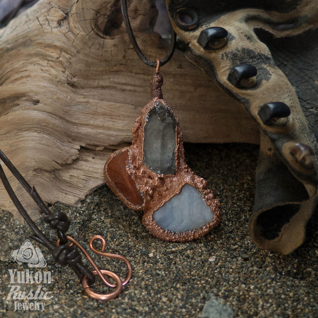 Gemstone Cluster Pendant with Jasper/Crystal/Lacey Agate