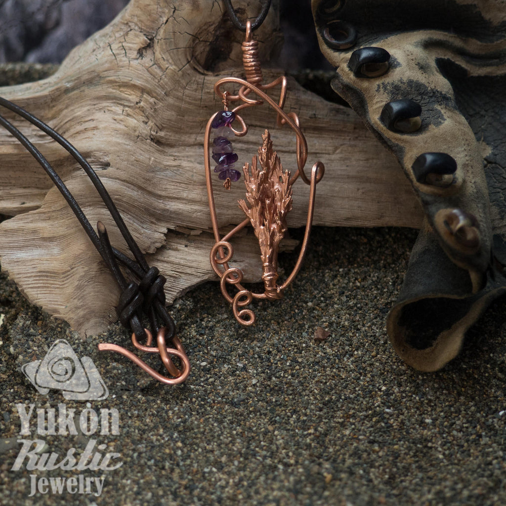 Juniper Tip Pendant with Amethyst Gemstone Chips