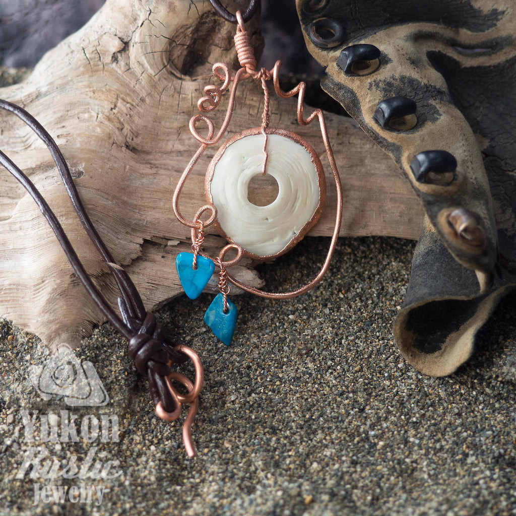 Seashell Pendant with Howlite Gemstone Chips