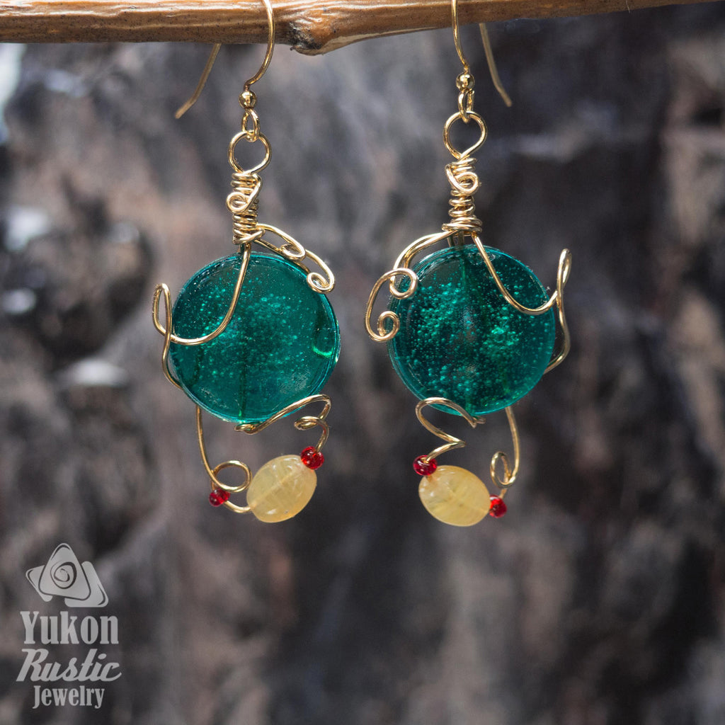 Emerald Green Resin Earrings