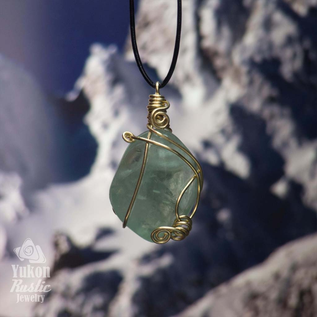 Green Fluorite Pendant (gold wire)
