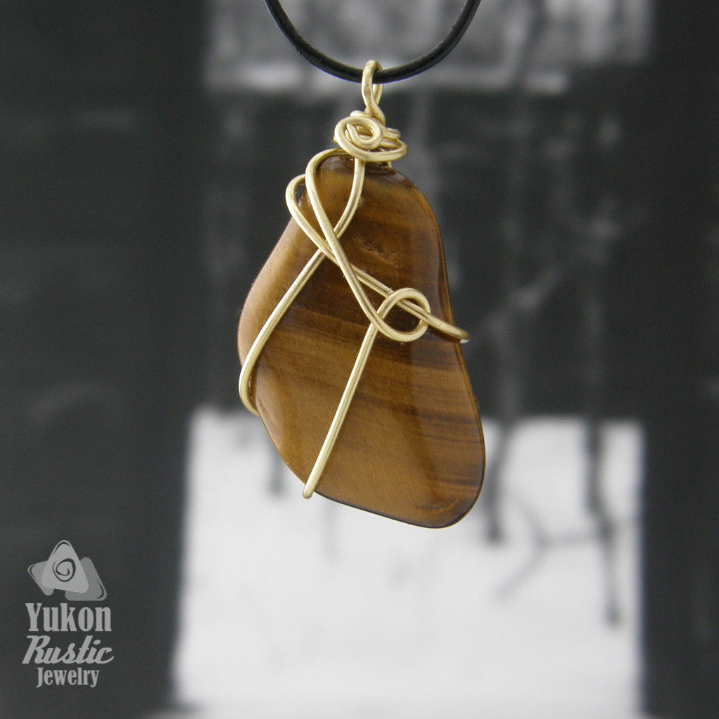 Gold Tiger Eye Pendant (gold wire)