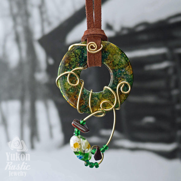 Green and Yellow Washer Pendant accented with Beads