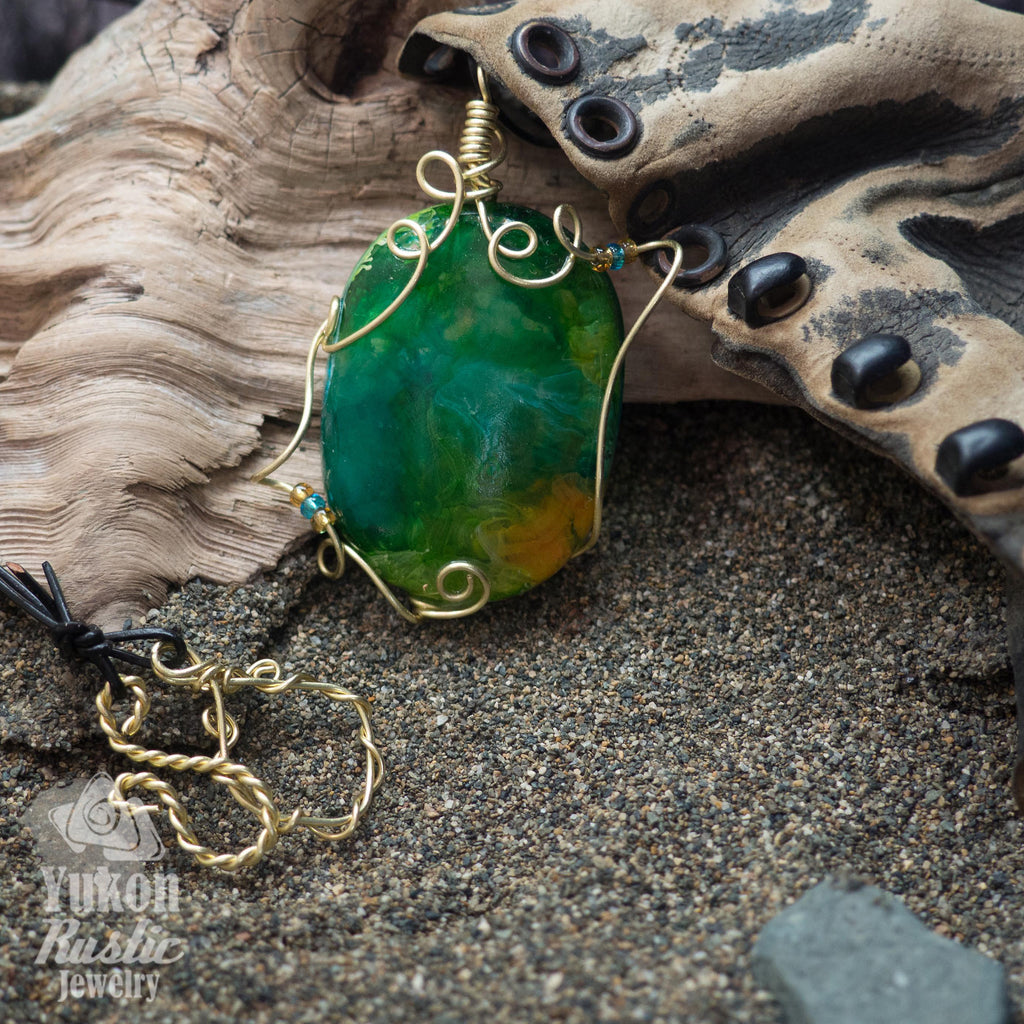 3D Green and Orange Resin Pendant