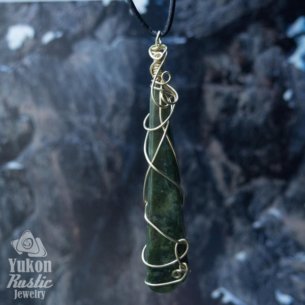 Jade Pendant (gold wire)