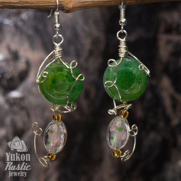 Green Resin Earrings with Glass Flower Bead