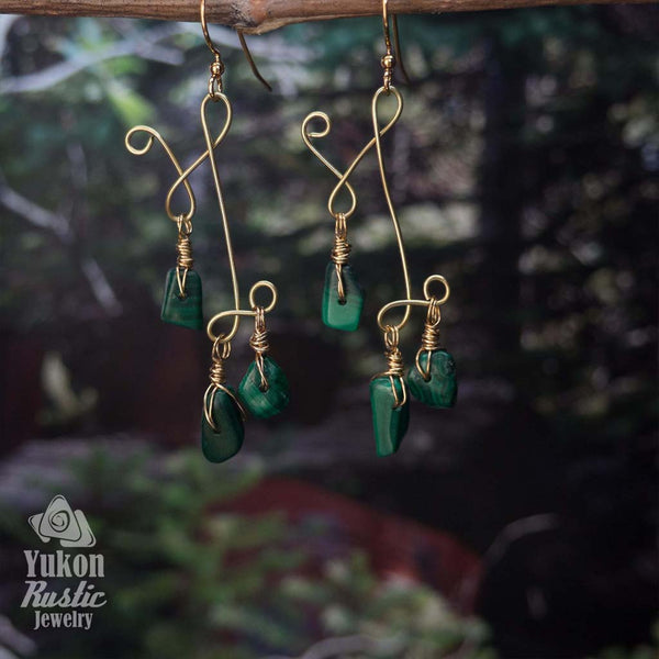 Malachite Gemstone Chip Earrings (gold wire)