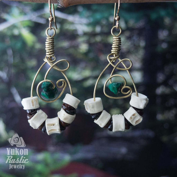 Malachite Gemstone Earrings with Fish Vertebrae (gold wire)