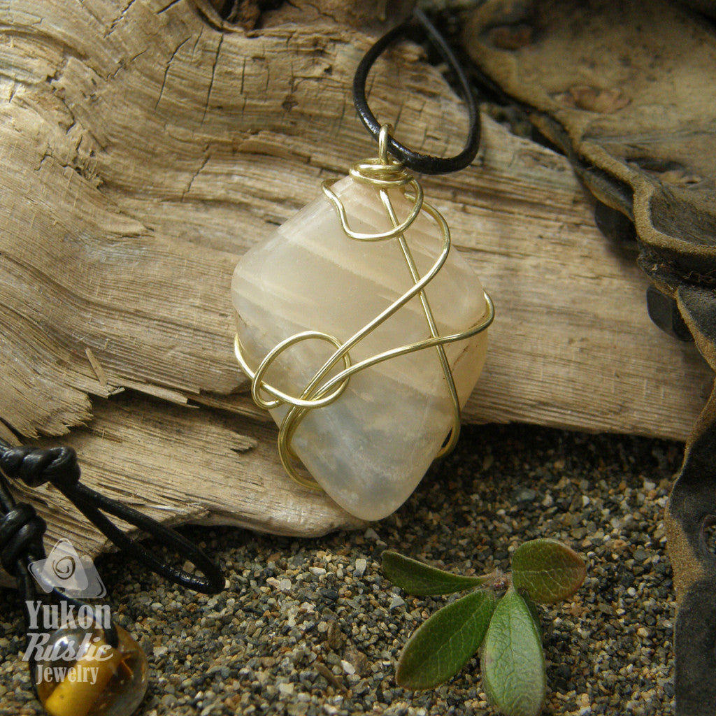 Moonstone Pendant (gold wire)