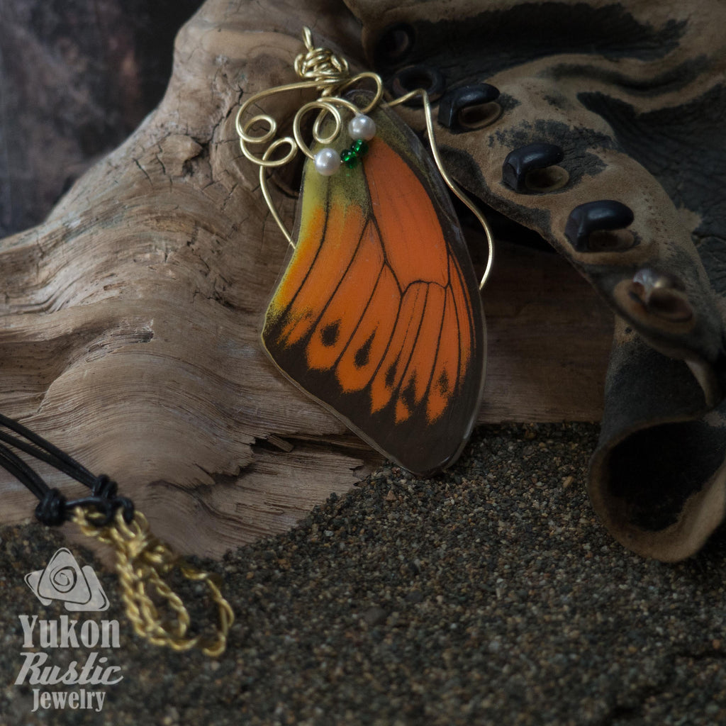 Butterfly Wing Pendant (orange with brown markings)