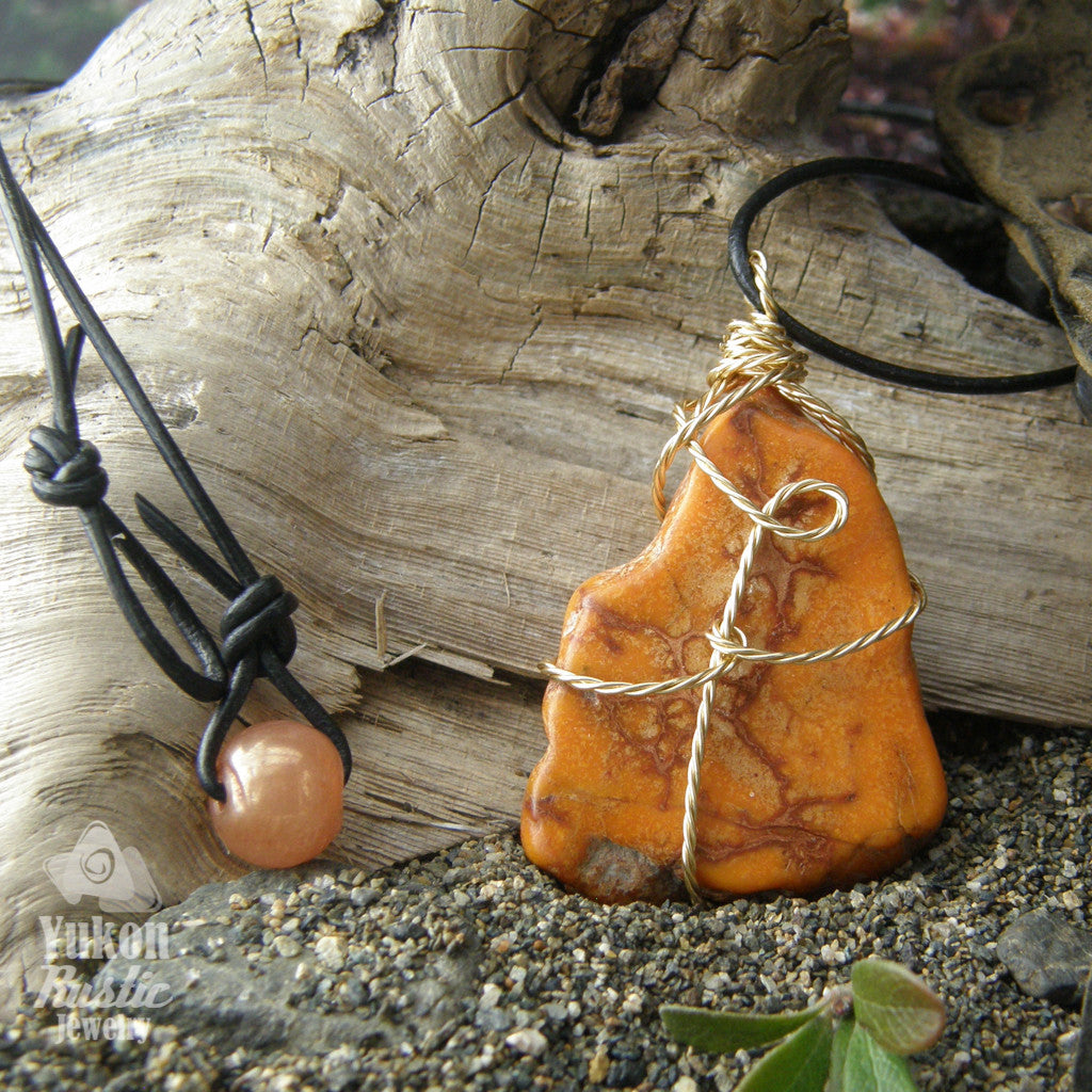Sea Sediment Orange Jasper Slice Pendant (twist gold wire)