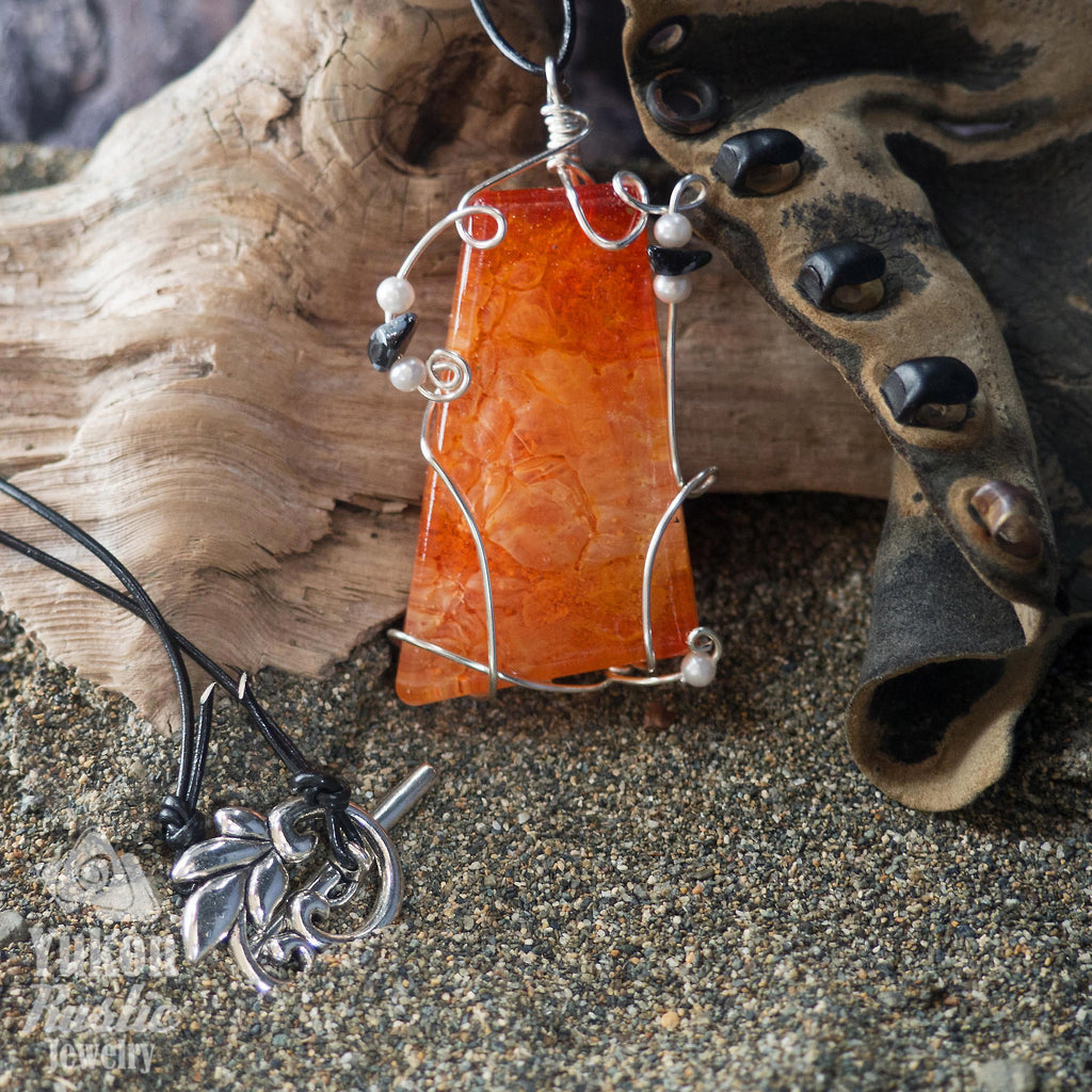 3D Orange and White Resin Pendant