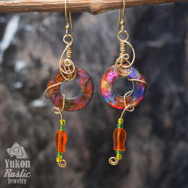 Orange and Purple Washer Earrings