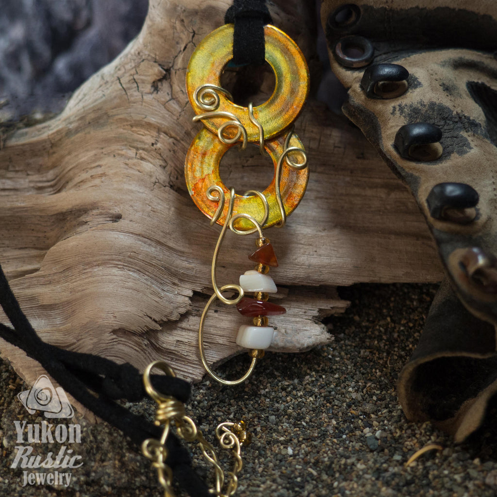 Orange and Yellow Washer Pendant accented with Beads