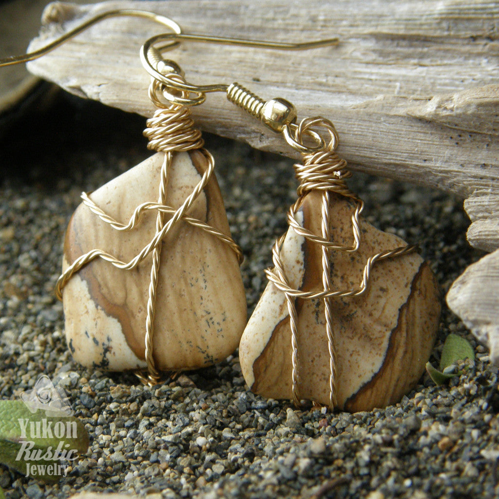Picture Jasper Stone Earrings (gold twist wire)