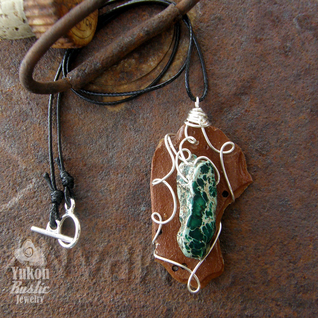 Pine Bark with Sea Sediment Green Jasper (dark green - silver wire)