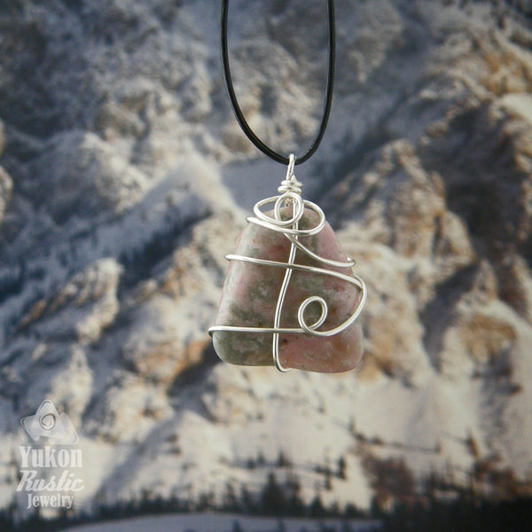 Pink Thulite Pendant (silver wire) revers