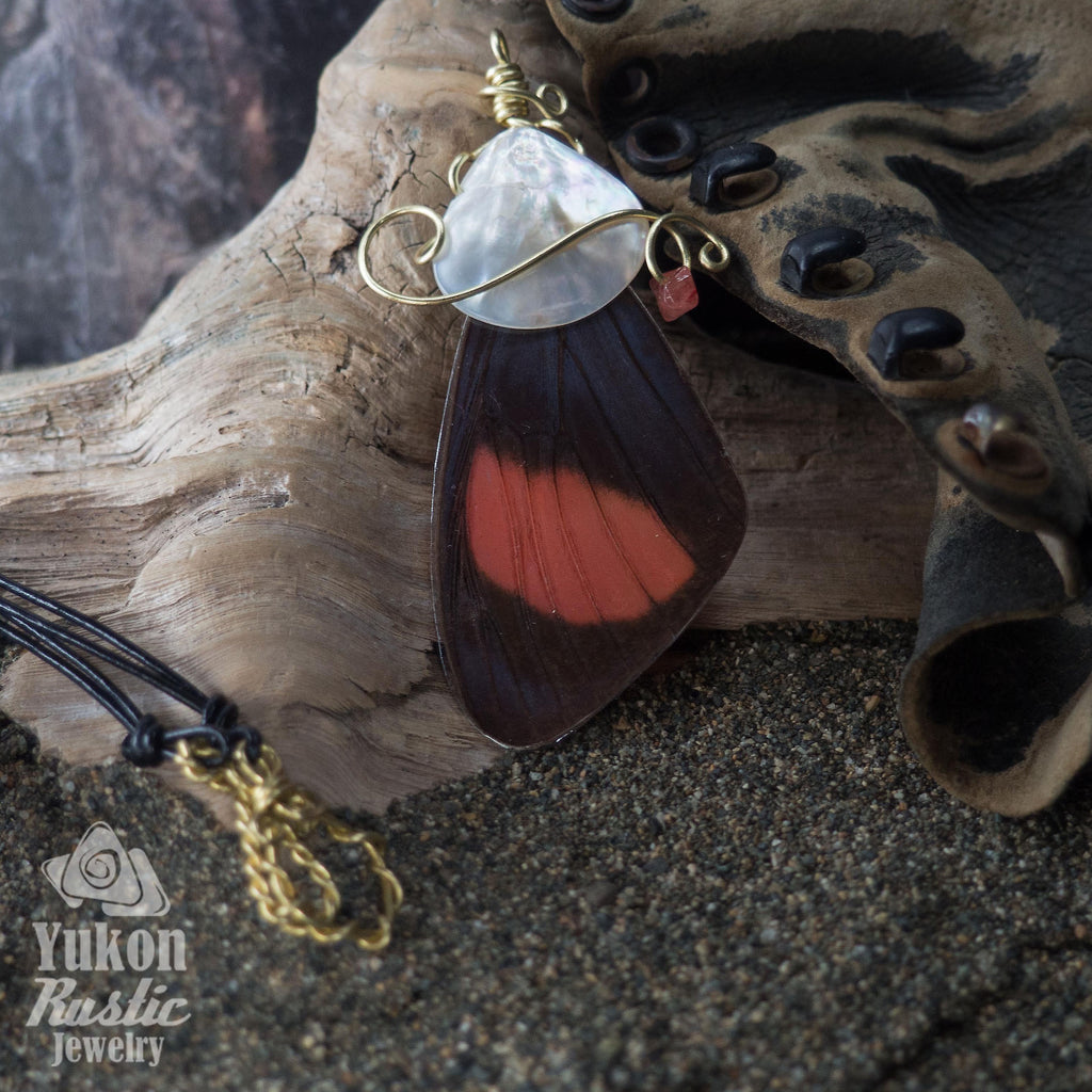Butterfly Wing Pendant (pink with brown markings)