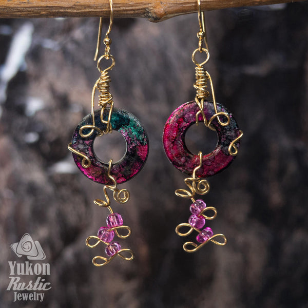 Green and Purple Washer Earrings