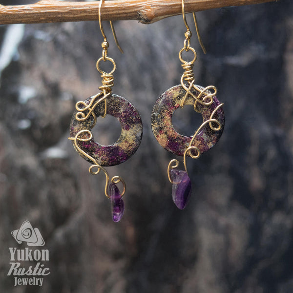 Gold and Purple Washer Earrings