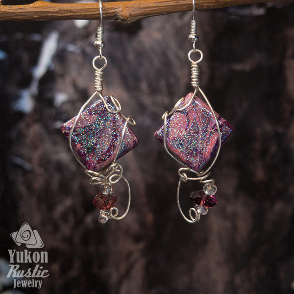Shimmering Marble Resin Earrings