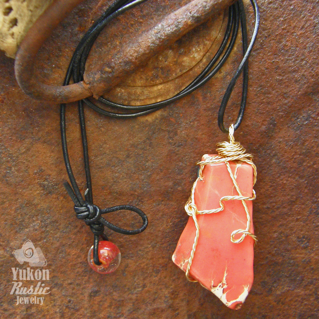Sea Sediment Red Jasper Slice Pendant (twisted gold wire)