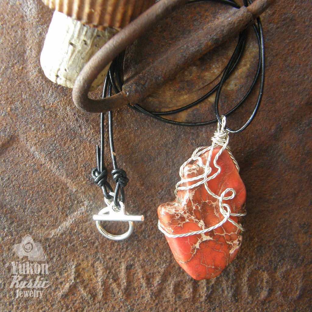 Sea Sediment Red Jasper Slice Pendant (twisted silver wire)