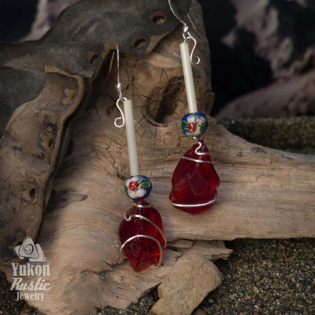 Red Sea Glass Earrings with Beads (silver wire)