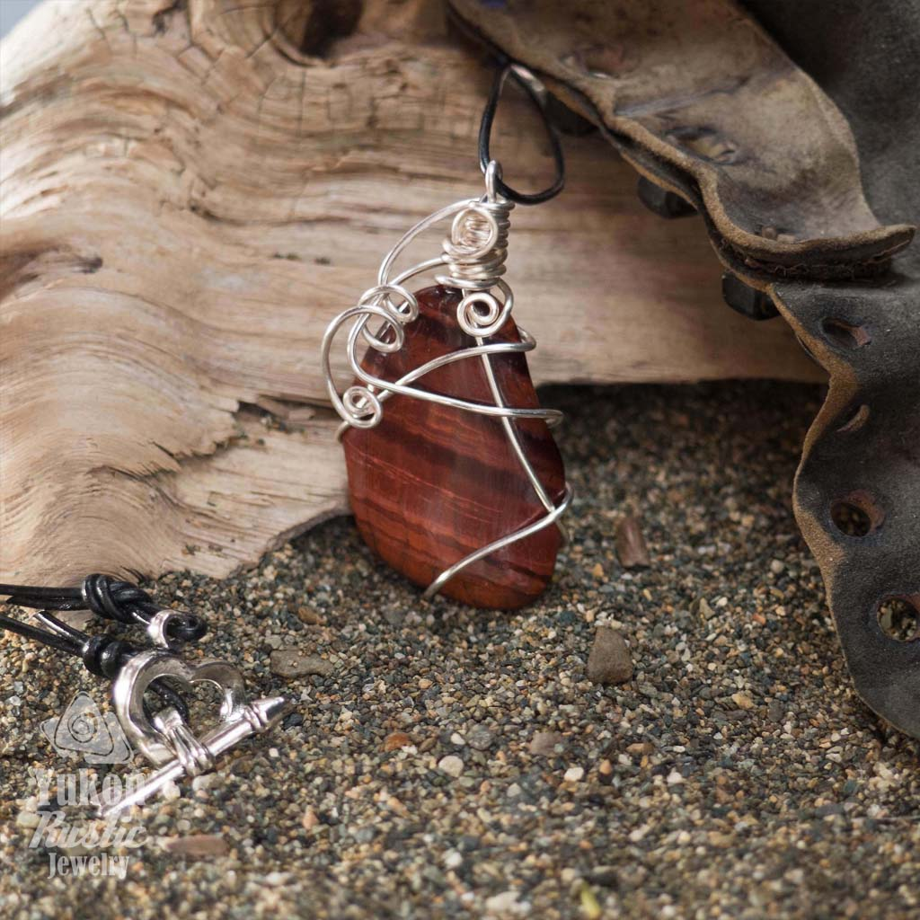 Red Tiger Eye Pendant (silver wire)
