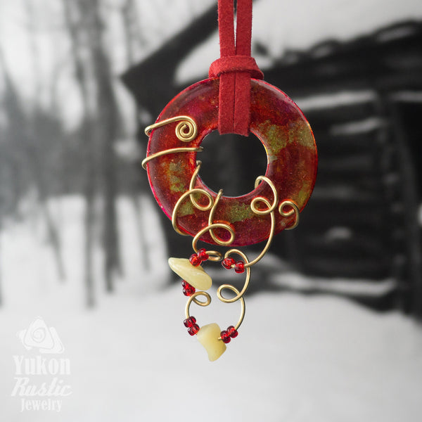 Red and Yellow Washer  accented Pendant with Beads
