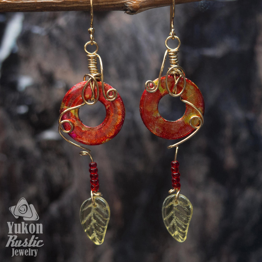 Red and Yellow Washer Earrings