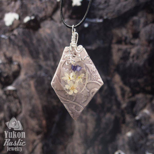Yukon Bouquet - Purple Vetch Flower Resin/Clay Pendant