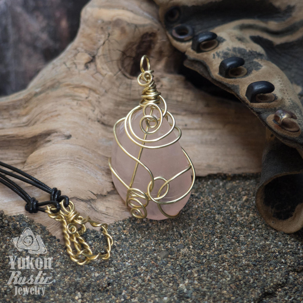 Rose Quartz Pendant ( gold wire)