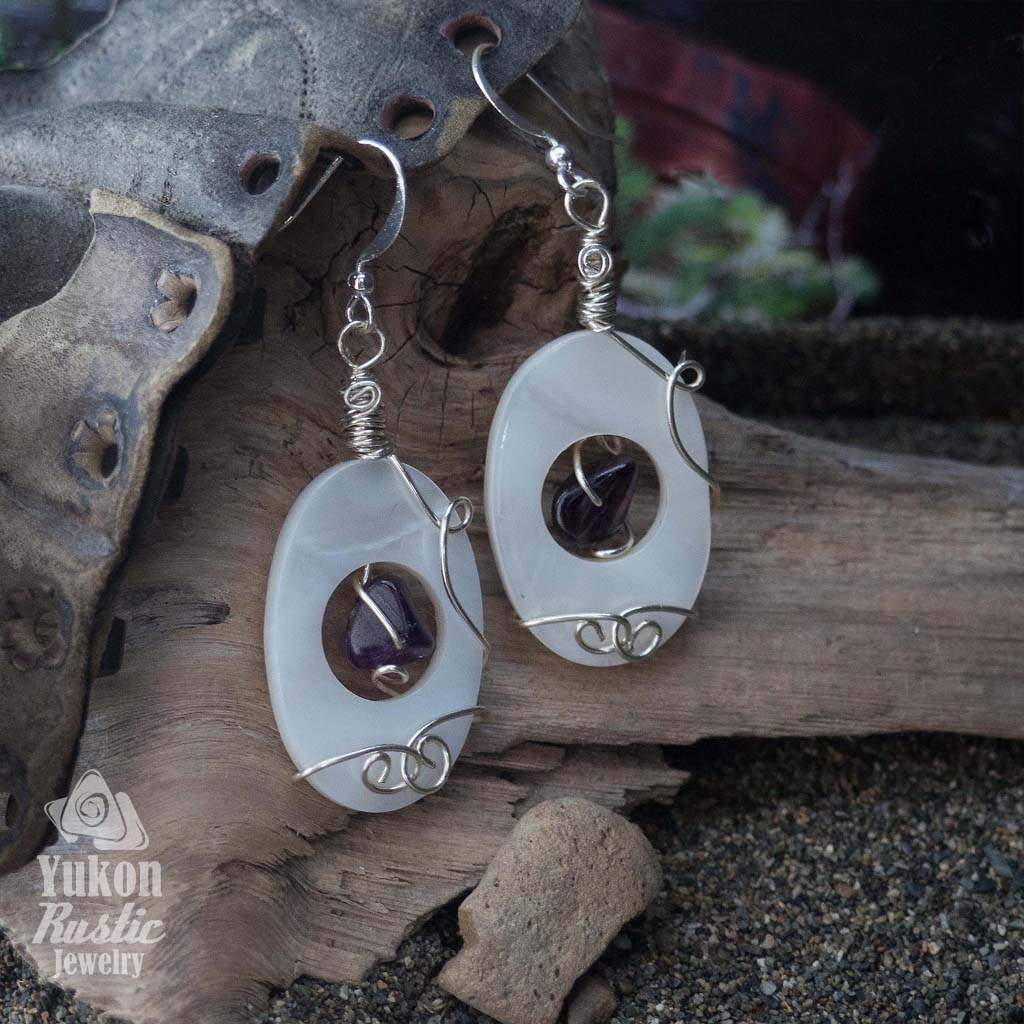 Seashell Earrings with Amethyst Gemstone Beads (silver wire)
