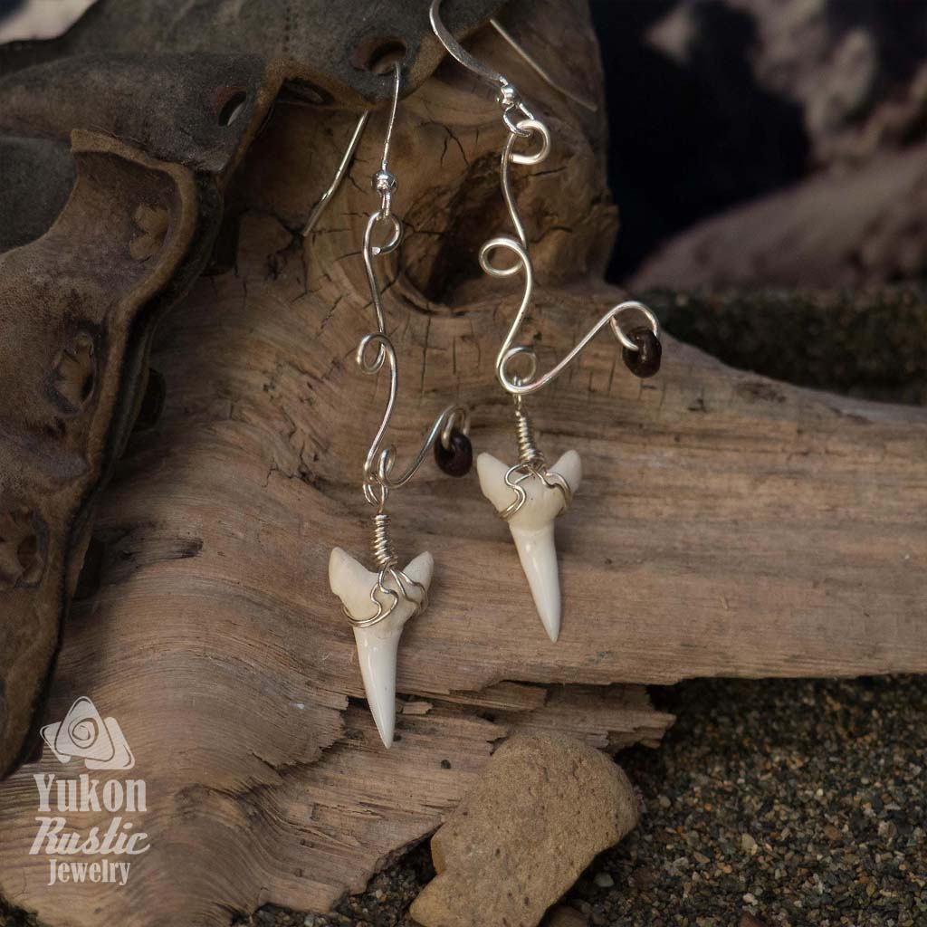 Shark Teeth Earrings with Wood Beads (silver wire)