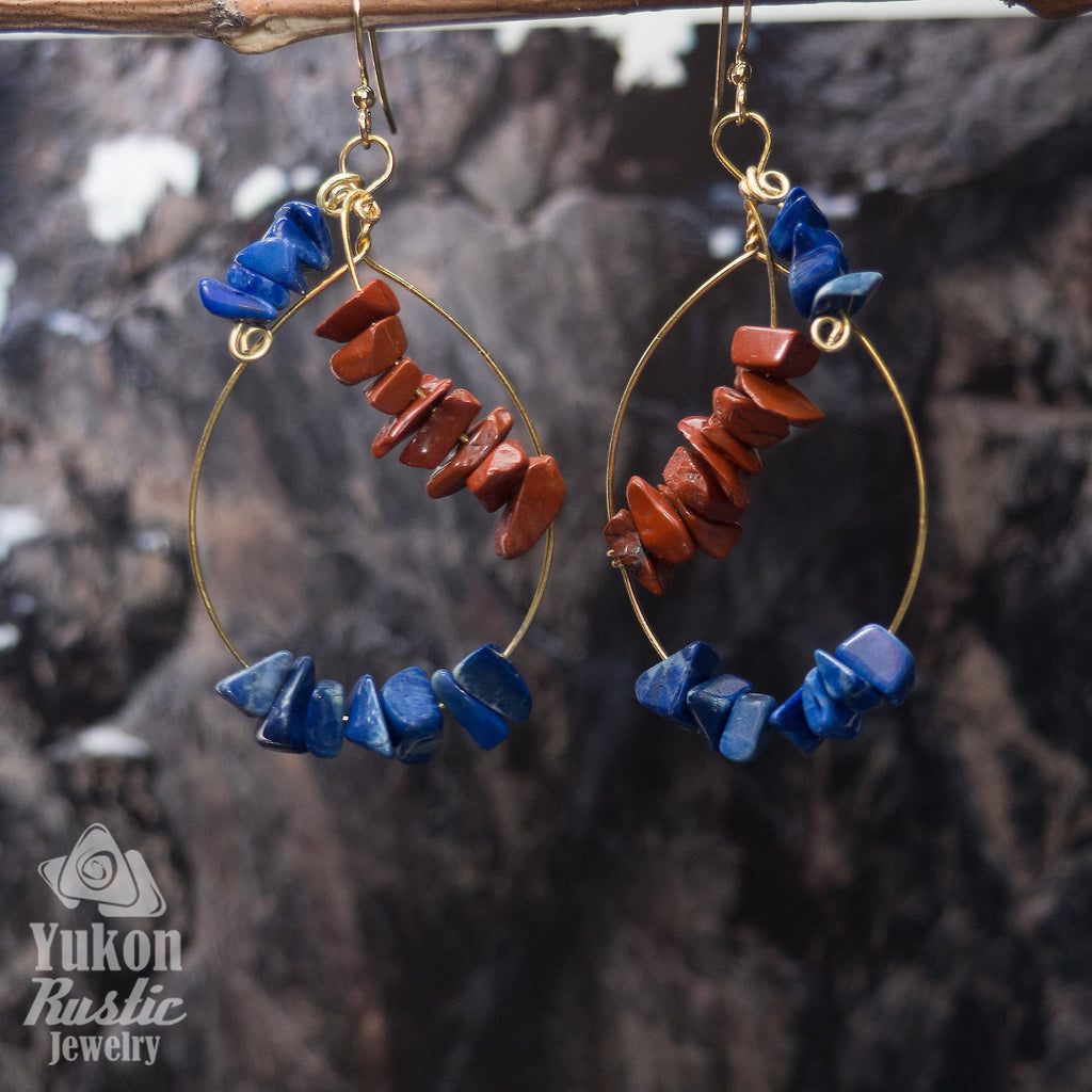 Jasper and Sodalite Gemstone Chip Earrings (gold wire)