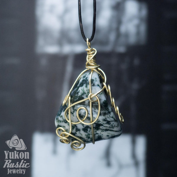Tree Agate Pendant (gold wire)