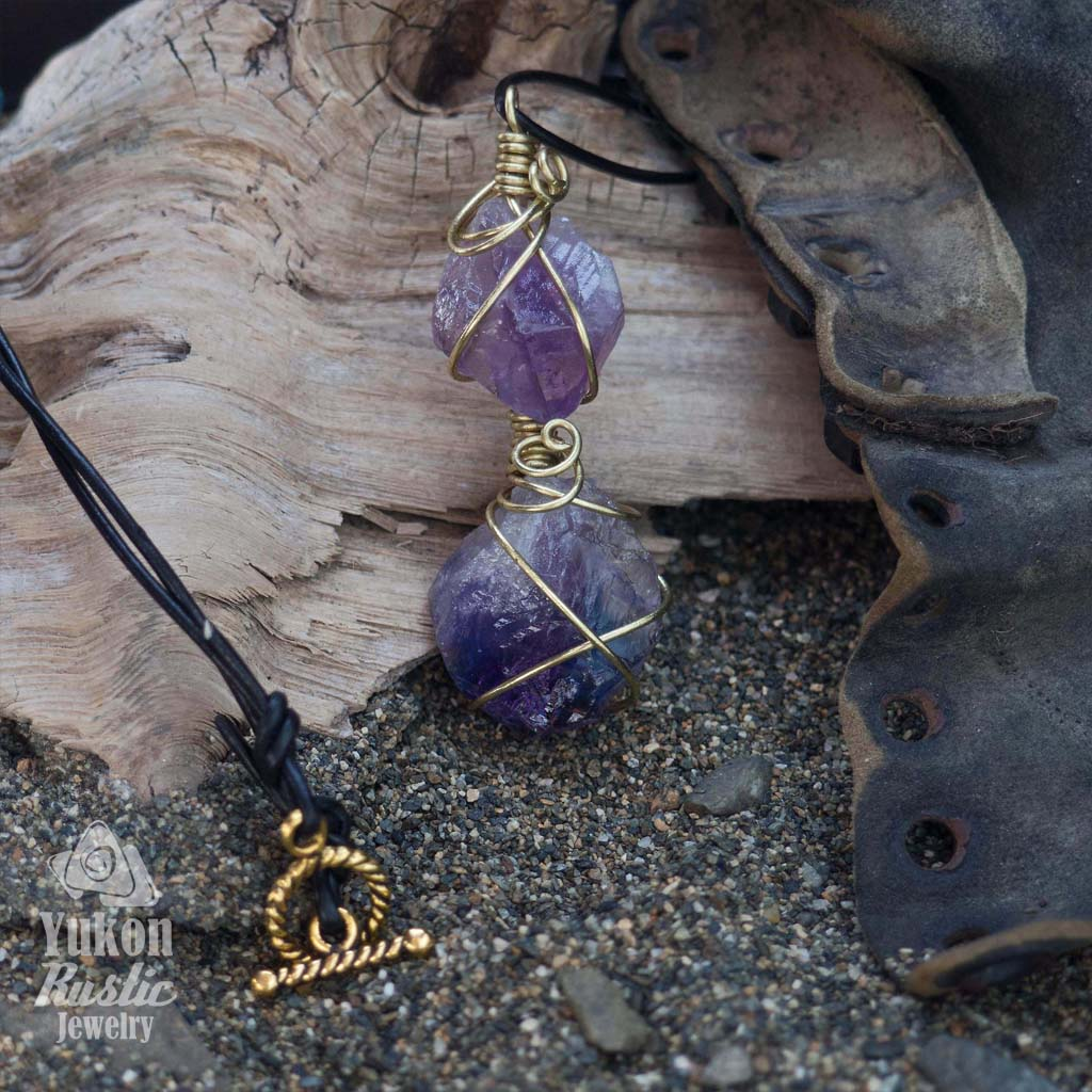 Amethyst Point Pendant (gold wire)