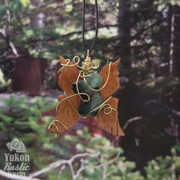 Emerald Pendant with Birch Bark