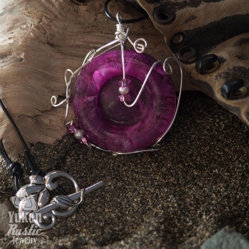 3D Purple and White Resin Necklace