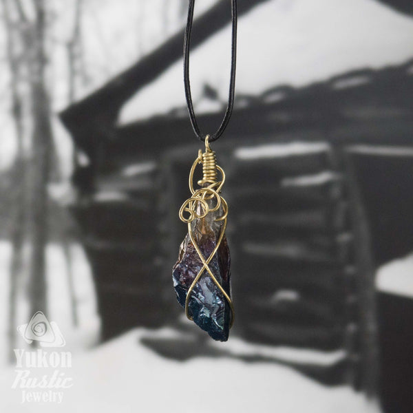 Mystic Coated Titanium Quartz Crystal (gold wire)