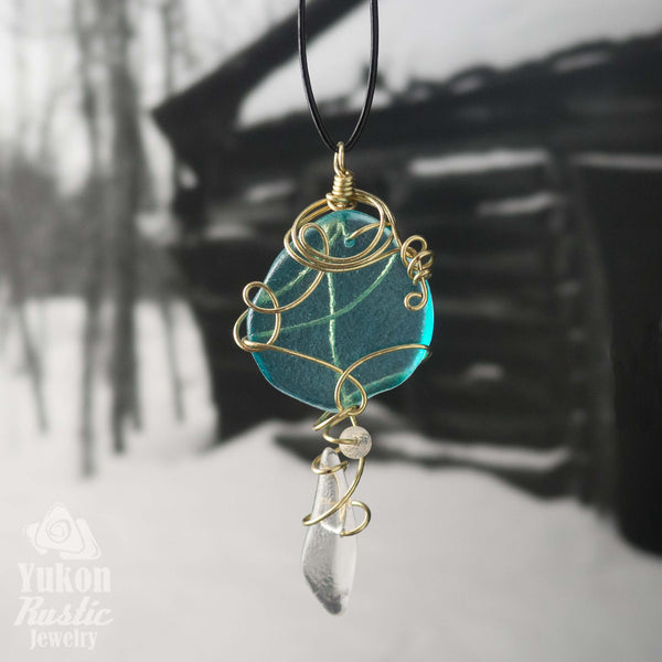 Blue Sea Glass Pendant (gold wire)