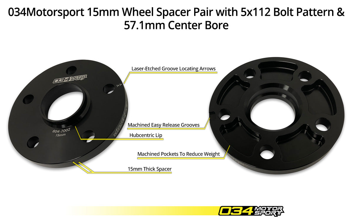 034Motorsport Wheel Spacer Pair, 15mm, Audi 5x112mm with 57.1mm Center Bore - ML Performance