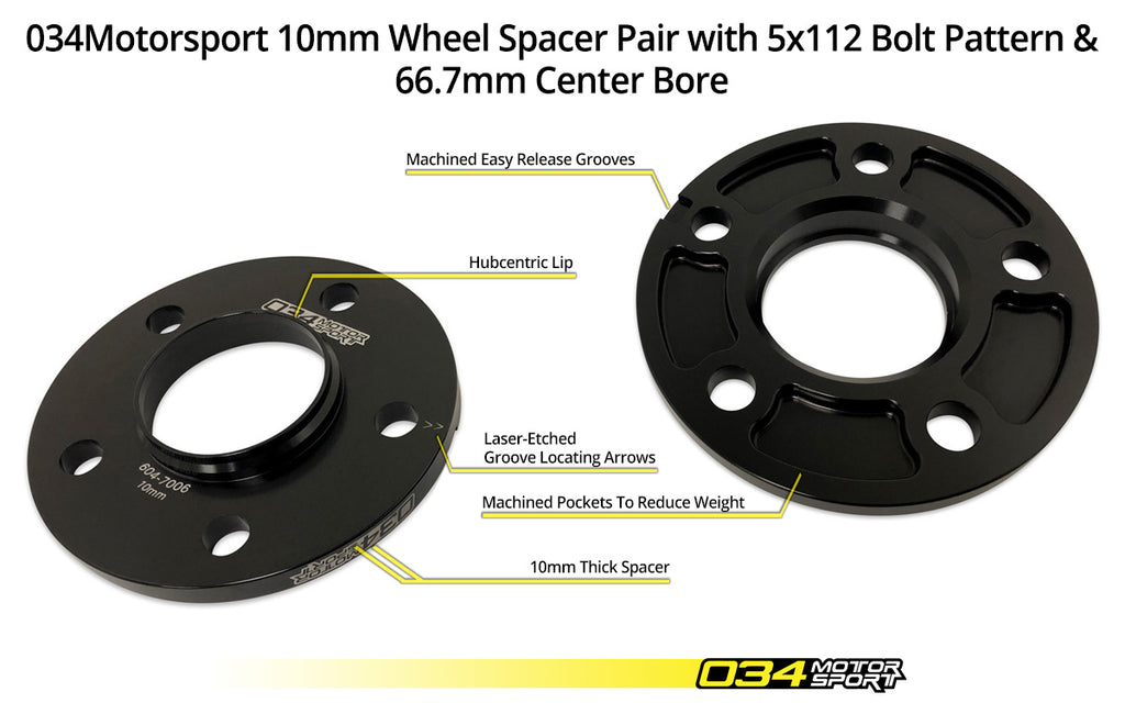 034Motorsport Wheel Spacer Pair, 10mm, Audi 5x112mm with 66.5mm Center Bore - ML Performance