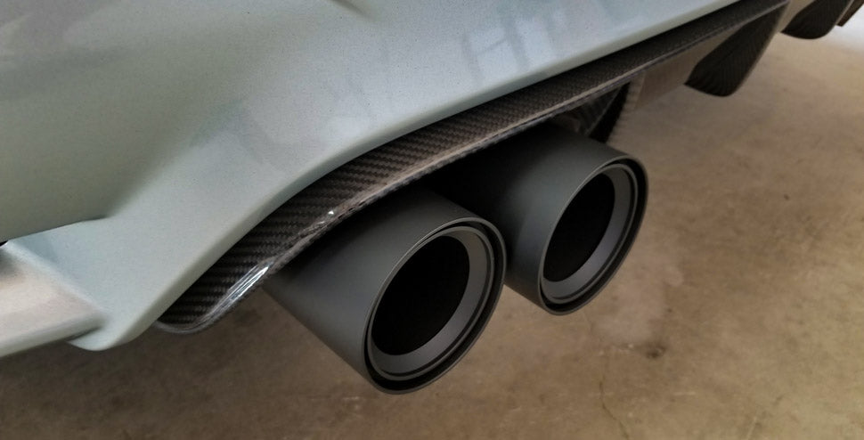 BMS BMW F80 F82 F83 Billet 3.75inch Exhaust Tips M2, M3, M4 Ceramic Matte Black Fitted - ML Performance UK