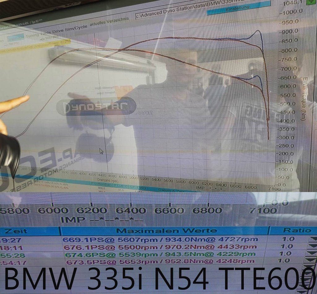 TTE BMW Hybrid Turbocharger Upgrade TTE600 135i & 335i (N54) / Dyno Result on pump fuel only (102 octane) No meth nor Ethanol. ML Performance UK