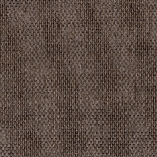 Designer Grasscloth - Basket Weave with Pearl, Dark Brown - 488-423