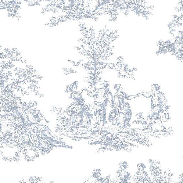 Romantic Toile Light Blue, white - CH22510